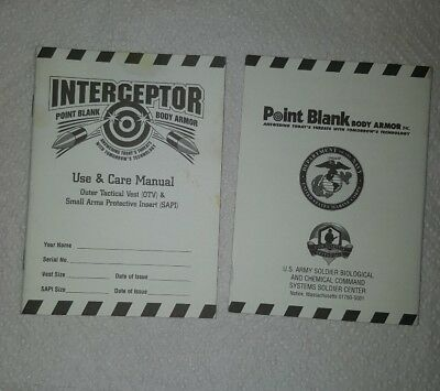 Point Blank Interceptor OTV AND SAPI Use and Care Manual