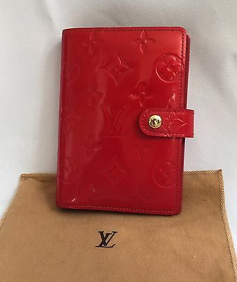 Authentic  Louis Vuitton Agenda PM  Red Vernis Leather