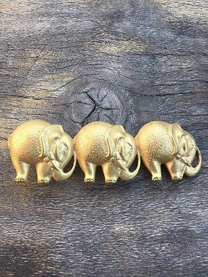Accessocraft NYC Procession Of Golden Elephants Belt Buckle  W25