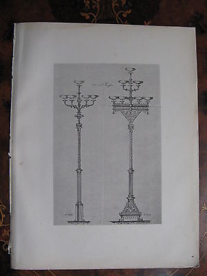 Street Light Floor Lamp Standard Lamp  c1870 Photogravure