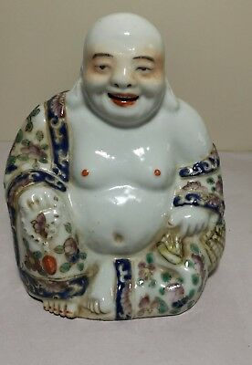 Collectable Vintage 1920S China Famille Rose Porcelain Happy Laugh Buddha H13CM