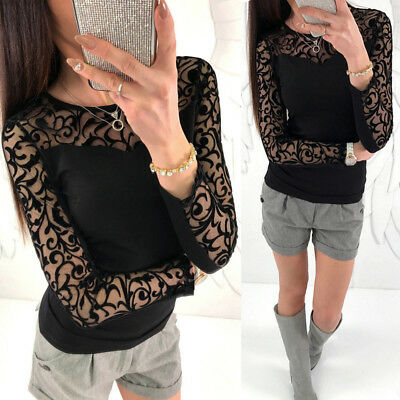 UK Sexy Womens Lace Mesh Long Sleeve Top Ladies Casual Paty Tops T-Shirt Blouse
