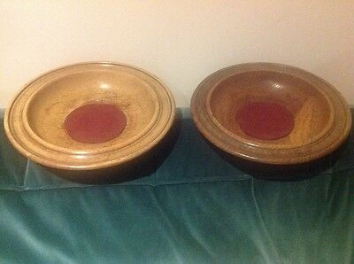 """2 x Vintage wooden Church  donation collection plates, treen 9.5""""."""