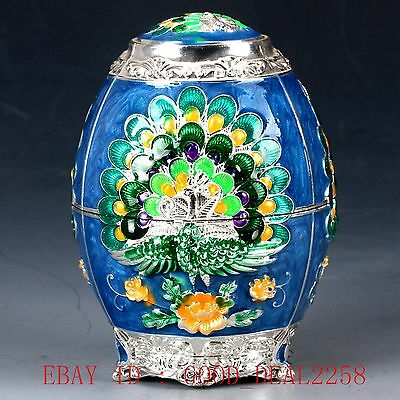 Chinese Cloisonne Handwork Carved Peacock Toothpick Box JTL008