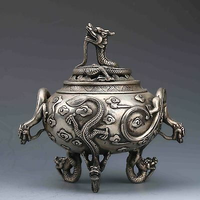 Chinese Silver Copper Hand-Carved Dragon Incense Burner W XuanDe Mark G569