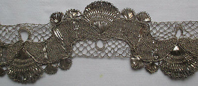 Rare Find! Antique Silver Metallic Torch Lace Fine Weave French