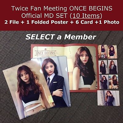 TWICE Fan Meeting ONCE BEGINS Official GOODS SET Poster + 6 Card + 2File + Photo