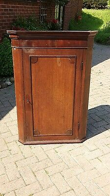 Antique wooden wall hanging  corner cabinet with lock and key