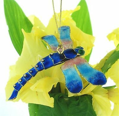 Kubla Blue art Articulated blue dragonfly ornament..Insects. Nice !  4931b