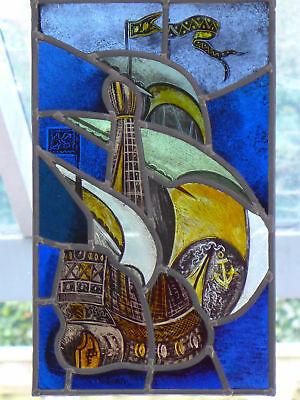 Handpainted leaded light stained glass panel galleon / ship. R663. DELIVERY!!!
