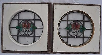 2 British round leaded light stained glass windows. R680. WORLDWIDE DELIVERY!!!