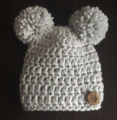 0-3 months hand knitted/crochet chunky baby bear hat, with double pompom, grey