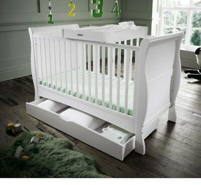 Izziwotnot Bailey Sleigh Cot Bed Toddler Drawer Changer