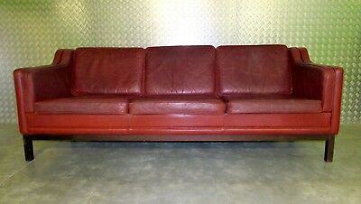 Vintage Danish Three Seater Leather Sofa