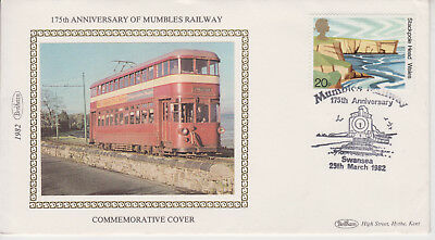 Benham Silk 1982 Mumbles Railway 175Th Anniversary Special Event Cover