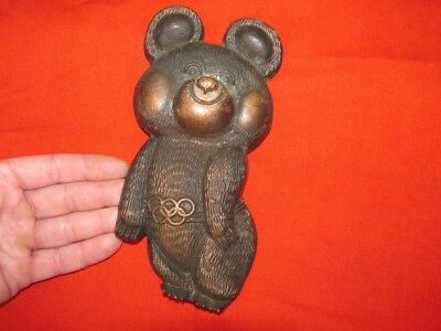 Vintage old USSR metal wall plaque BEAR MISHA symbol Olympic Games Moscow 1980