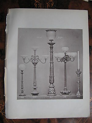 Candlestick Candlelabra Table Lamp  c1870 Photogravure
