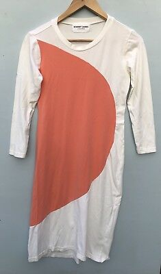 Sonnet James Dress XS Maternity White Peach Orange Pencil Stretch Jersey