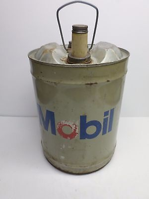 """Vintage """"MOBIL OIL"""" FIVE (5) GALLON HYDRAULIC FLUID CAN"""