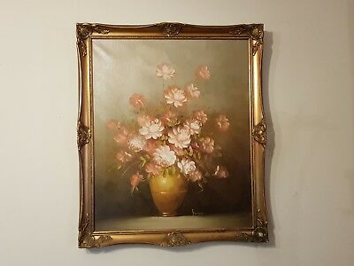 Vintage Floral Oil Painting On Canvas In Wooden Gilt Frame