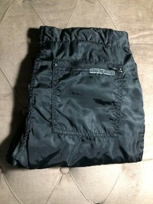 GROUND RULES 1980S 100% NYLON BLACK PARACHUTE PANTS 34x34