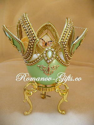 Russian Imperial Monarch Butterfly Music Box Egg with gold Faberge Necklace
