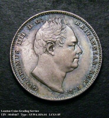 Choice UNC/BU 1834 Sixpence. Graded and encapsulated, CGS85.(MS65).