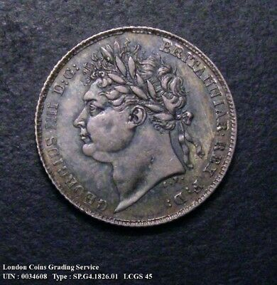 GVF 1826 Sixpence. Graded and encapsulated, CGS45.(AU53).