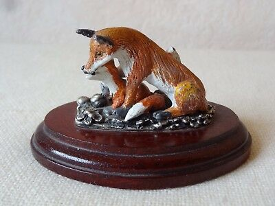 Charming Cold Painted Metal Bronze Fox And Fox Cub