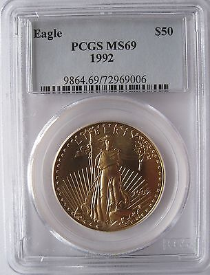 1992 $50 Gold Eagle Pcgs Ms69 Low Pop In Ms70 Only  10 Coins