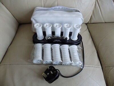 Vintage Carmen Set to Go 10 Travel Heated Hair Rollers Curlers Clips Styling