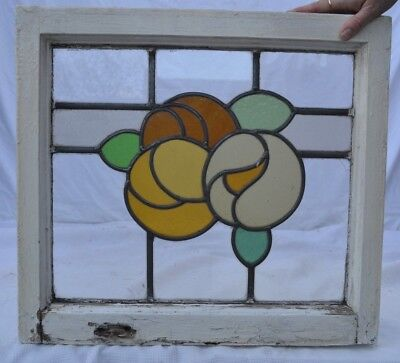 Leaded light stained glass window panel orange pansy. R676e WORLDWIDE DELIVERY!