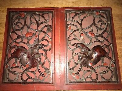 Chinese antique carved panels with dragon