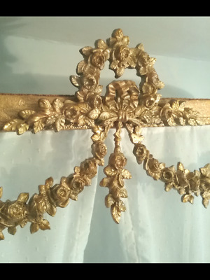 Antique French bed ciel de lit half tester bed canopy shabby chic Chateau style.