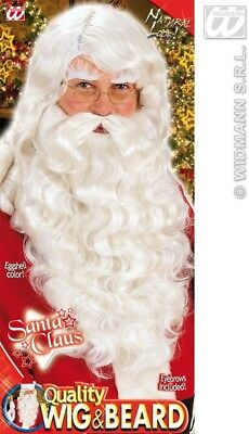Quality Deluxe Professional White Santa Wig Eyebrows Beard Set Father Christmas