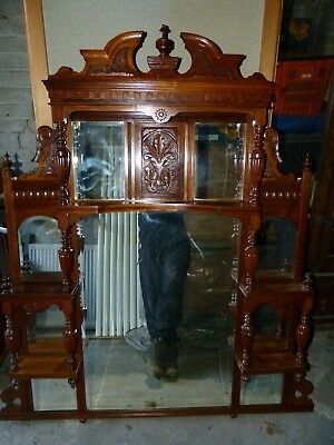 OVERMANTEL Late Victorian; lovely detail, beveled glass. A good example....