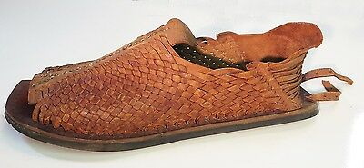 """Vtg 40-50's 21"""" Oversized Mexican Huarache Leather Sandal Shoe Store Display"""