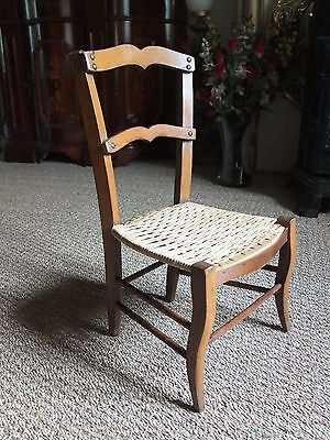 Antique French Childrens Cane Seat Chair For Teddy Bear, Doll Or Shop Display.