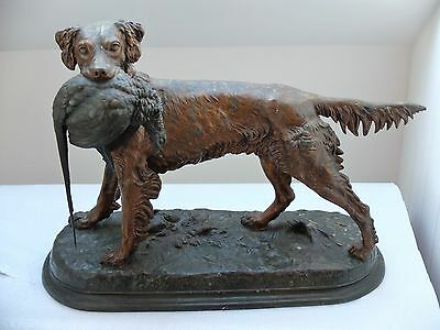 LARGE Signed JULES MOIGNIEZ. French Bronze statue of a Hunting Dog with Pheasant