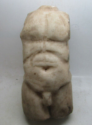Scarce ancient Roman huge marble torso fragment of a male statue