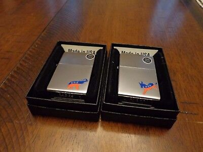 Republican Elephant And Democratic Donkey Zippo Lighter Set Mint In Box 2015