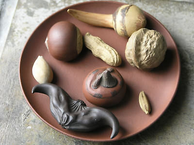 Late Qing Dynasty Yixing Stoneware 8 Fruit And Nuts Group With Dish