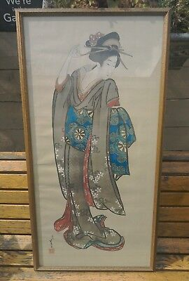 Vintage Large Japanese Painting Of A Giesha Girl