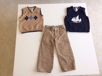 Janie and Jack Baby Boy Toddler Corduroy Tan Pants & 2 matching Vests Size 3T