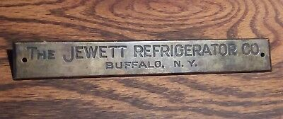Antique Vtg The Jewett Refrigerator Co Oak Ice Box Chest Plaque Emblem Badge Old