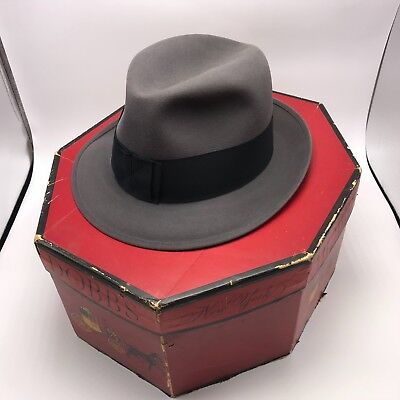 Dobbs Fifteen Fedora Hat 7 1/8 Gray Felt Fifth Ave NY Box Lytton's Vintage 50s