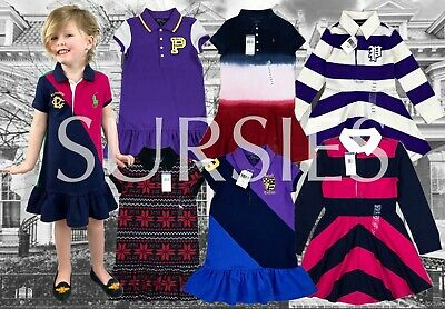 POLO RALPH LAUREN Girl Big Pony Color Block Polo Dress Navy Green Pink ALL SIZES