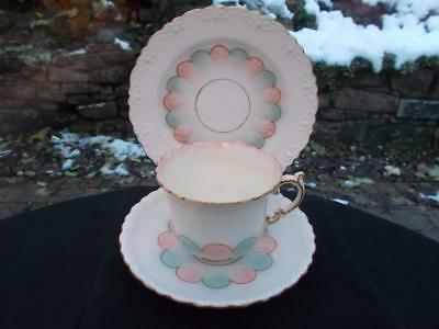 Pretty Aynsley Trio Cup, Saucer & Plate Blue Pink Pastel Shades 1920S 30S Lovely