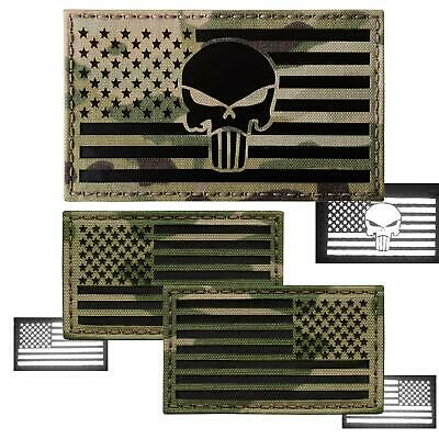 Bundle Set of 3 Punisher skull USA flags IR infrared multicam hook patches