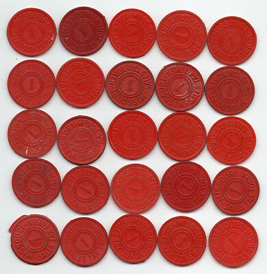Missouri lot : (25) 1 mill Red Plastic
